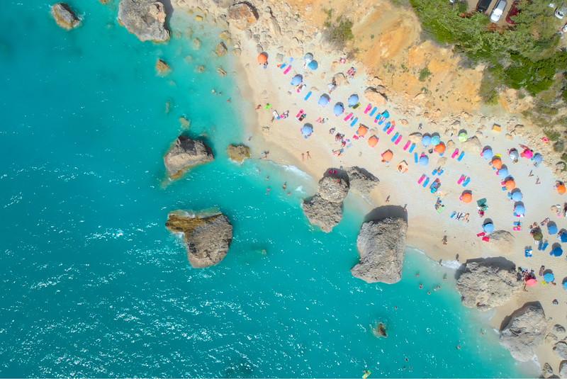 Drone view of Megali Petra beach Lefkada