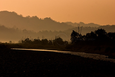 Ramganga river at sunset in Corbett national park