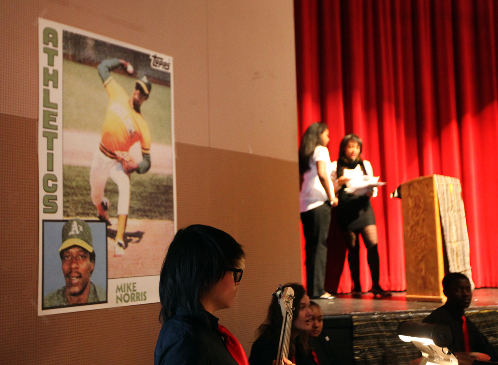 . Posters of Michael Norris as an Oakland A\'s pitcher are displayed at Skyline\'s annual Black History Assembly at Skyline High School in Oakland, Calif. on Monday, Feb. 4, 2013. Mike Norris, former A\'s pitcher from 1975-83 and a member of the Black Aces, was honored at the assembly with a short video about his career and present work with inner city youth.  After Norris gave an inspirational talk to the Black Student Union about leadership, courage, and hard work, they voted to honor him at the assembly. He was presented with a plaque from the Oakland Unified School District and the Black Student Union at the assembly.   (Laura A. Oda/Staff)