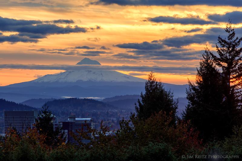 Sunrise view of Portland skyline and Mount Hood, Portland Japanese Garden