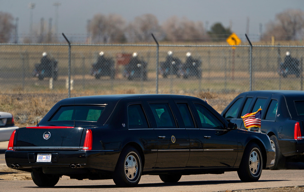 . AURORA, CO- APRIL 3: President Barack Obama heads towards Denver in his limo after arriving  in Aurora, CO aboard Air Force One at Buckley Air Force Base  on April 3, 2013. The president traveled to Colorado to meet with local law enforcement officials and community leaders to discuss the new gun control measures that the state has put in place including loopholes in the back round check system. (Photo By Helen H. Richardson/ The Denver Post)
