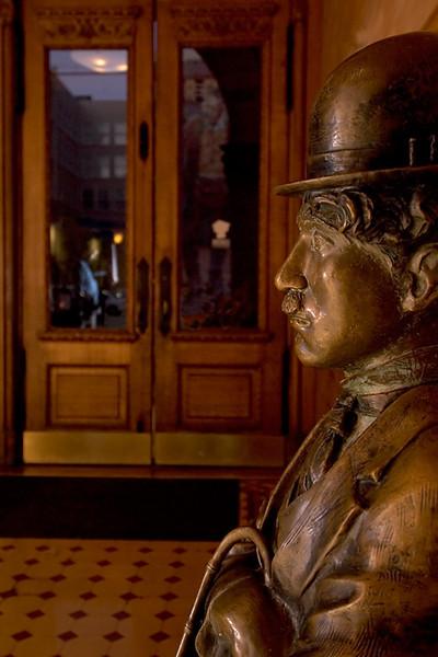 Charlie Chaplin Statue, Bradbury Building Statue on loan from the Hollywood Roosevelt Hotel.  Wikipedia Entry:  http://en.wikipedia.org/wiki/Bradbury_Building