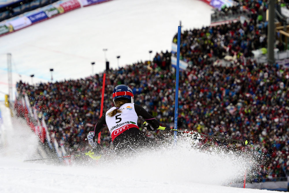 Description of . Gold medallist US Mikaela Shiffrin skis during the second run of the women's slalom at the 2013 Ski World Championships in Schladming, Austria on February 16, 2013. FABRICE COFFRINI/AFP/Getty Images