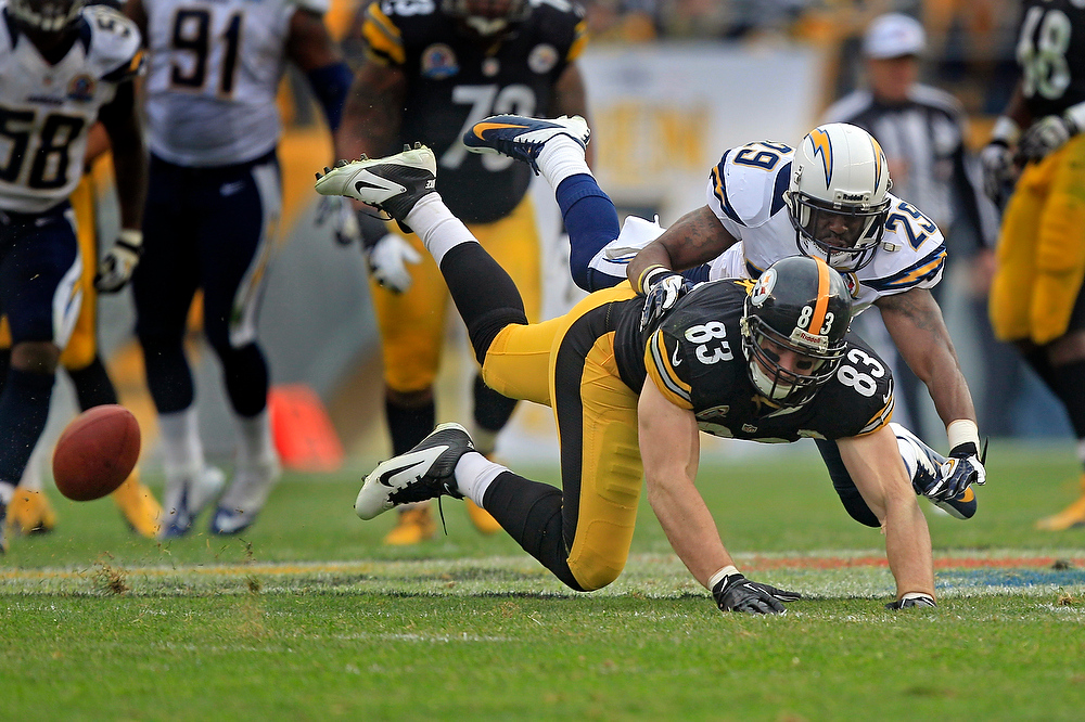 Description of . Pittsburgh Steelers tight end Heath Miller (83) can't catch a pass as San Diego Chargers defensive back Shareece Wright (29)defends in the second quarter of an NFL football game in Pittsburgh, Sunday, Dec. 9, 2012. (AP Photo/Gene J. Puskar)