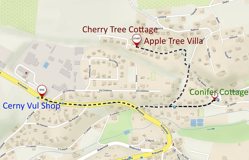Directions Cherry Tree Cottage to Cerny Shop 1km