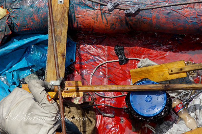 A close up of their raft