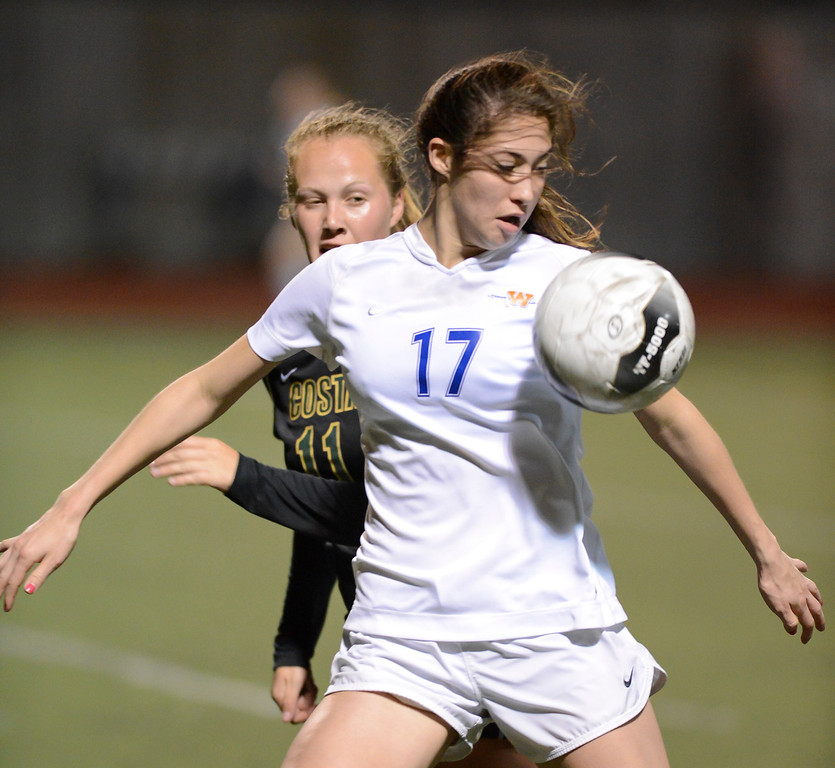 . Westlake\'s Arielle Ship blocks out Mira Costa\'s Sara Chamberlain during quarterfinal action.  Westlake defeated Mira Costa 1-0 in the quarterfinal.  Photo by David Crane/Staff Photographer