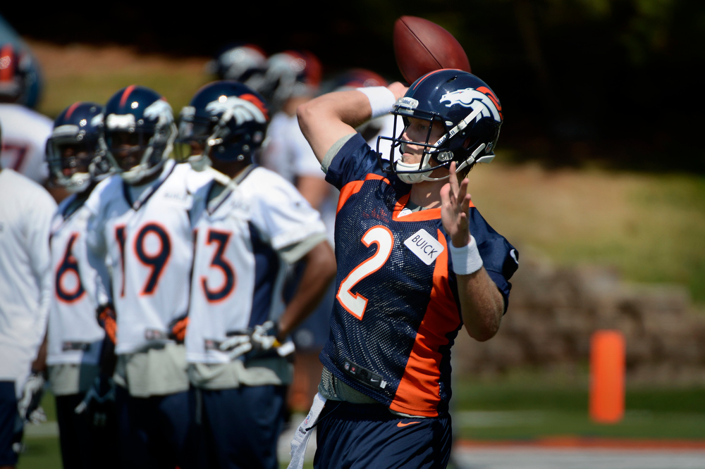 . Rookie quarterback # 2 Zac Dysert throwing during Broncos rookie minicamp at the Broncos Dove Valley facility May 10, 2013 Centennial, Colorado. (Photo By Joe Amon/The Denver Post)