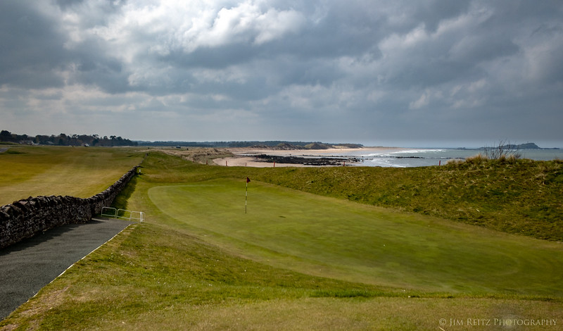"""North Berwick Golf Club, West Links course. Hole #13 """"The Pit"""" requires you to hit over a stone wall onto the green!"""