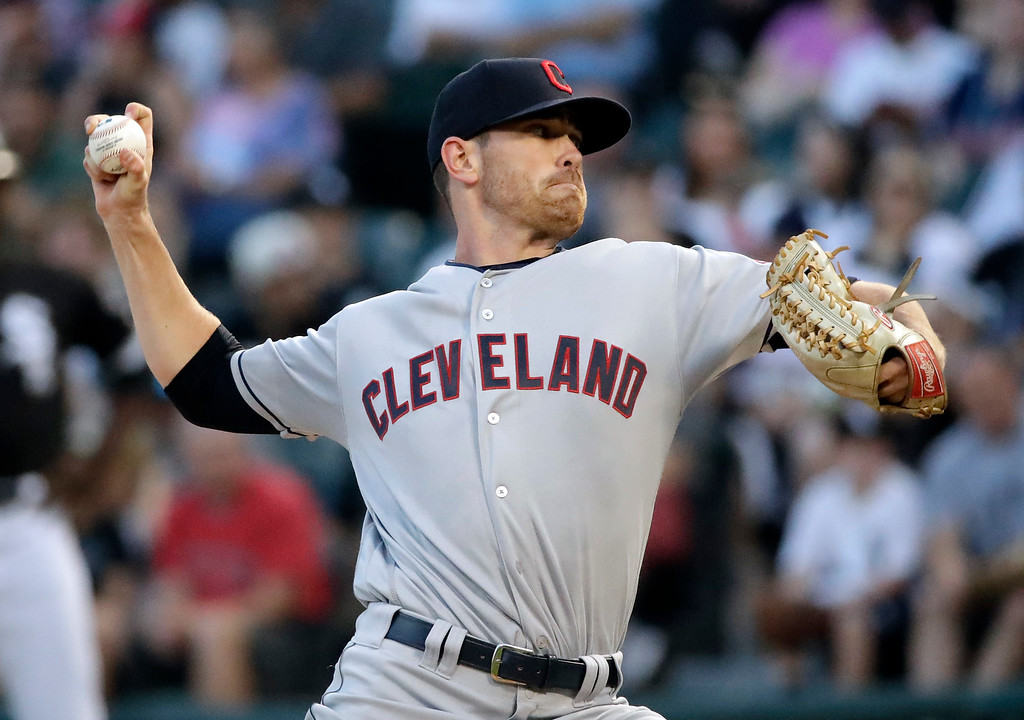 . Cleveland Indians starting pitcher Shane Bieber throws to a Chicago White Sox batter during the first inning of a baseball game Friday, Aug. 10, 2018, in Chicago. (AP Photo/Nam Y. Huh)