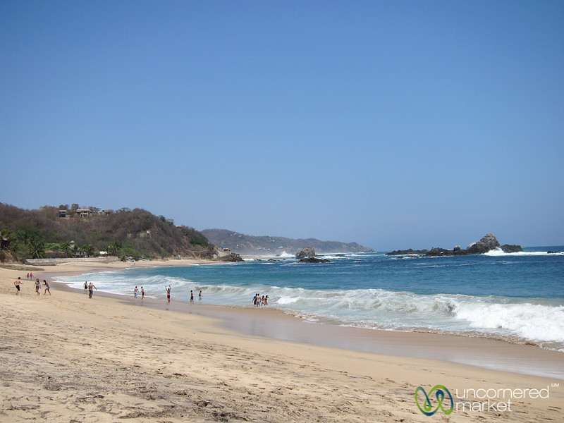 Playing in the Waves - Mazunte Beach, Mexico