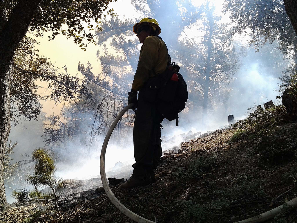 . U.S. Forest Service and San Bernardino County Fire Department take part in a control burn Friday April 12, 2013 in preparation for the season in the Angelus Oaks. The fire crews burned about 70 acres of vegetation in two days.LaFonzo Carter/ Staff Photographer