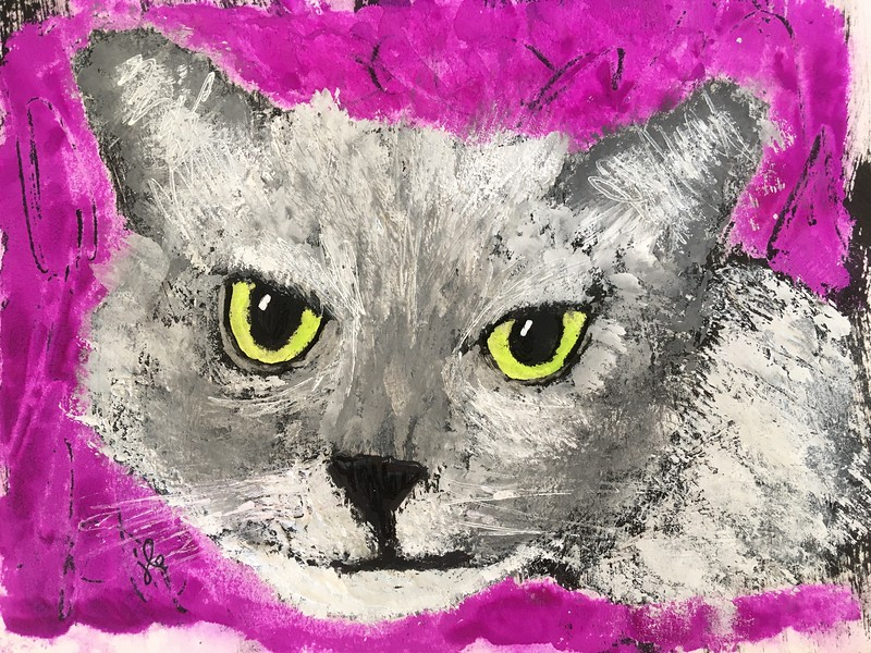 10/23 Commissioned piece, (Ginger the cat) 5x7 in 8x10 frame