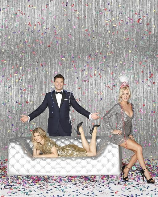 ". ""DICK CLARK\'S PRIMETIME NEW YEAR\'S ROCKIN\' EVE WITH RYAN SEACREST\"" - Ryan Seacrest spotlights some of the year\'s hottest artists, groups and songs. Fergie hosts the Los Angeles party, and Jenny McCarthy is live with all the festivities in Times Square, airing MONDAY, DECEMBER 31 (10:00-11:00 p.m., ET), on ABC. (ABC/BOB D\'AMICO) FERGIE, RYAN SEACREST, JENNY MCCARTHY"