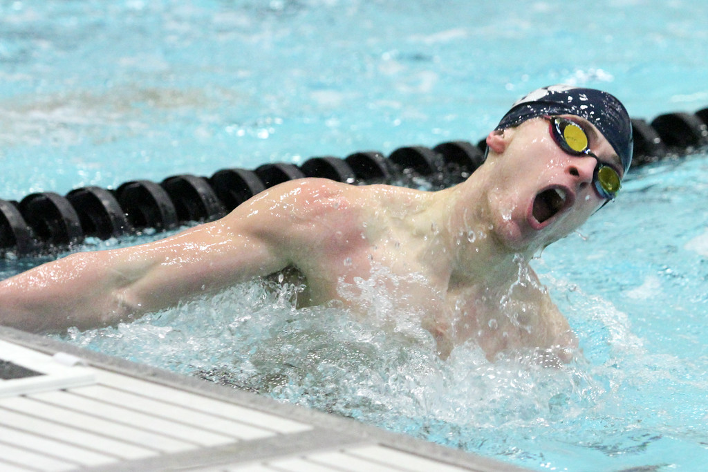 . Barry Booher - The News-Herald Chase Waterman (West Geauga ) makes the turn in the 100 yard breaststroke.