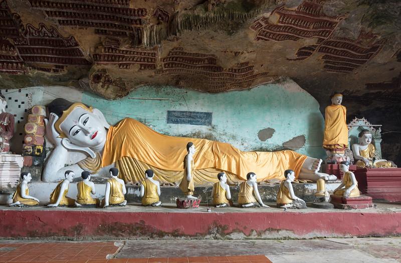 Reclining Buddha at Kaw-goon (or Kawgun) Cave Temple, Mon State, Burma (Myanmar)