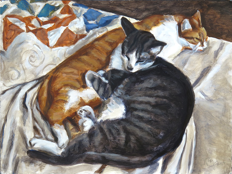 Sleeping cats, acrylic on paper, 22 x 30 in, 2017