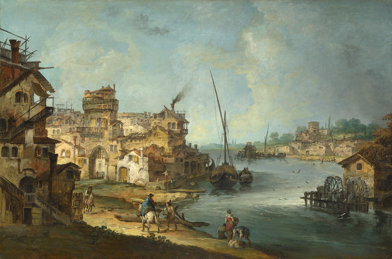 Buildings and Figures near a River with Shipping