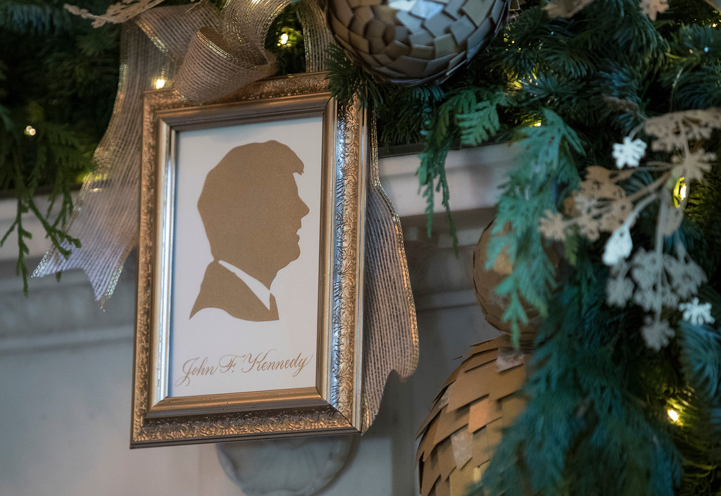 . A silhouette of President John F. Kennedy is seen in the Green Room among the 2017 holiday decorations in the White House in Washington, Monday, Nov. 27, 2017. (AP Photo/Carolyn Kaster)