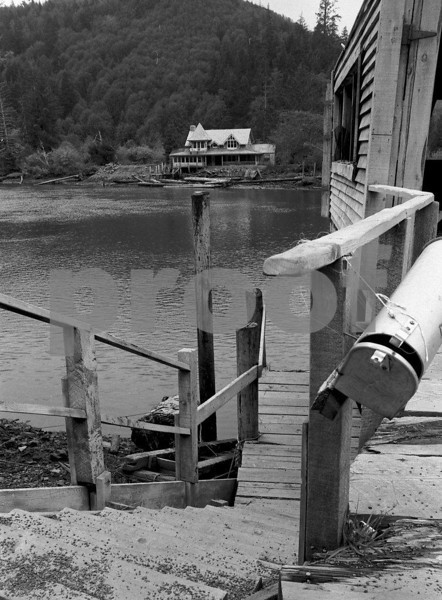 The 1970 movie, Sometimes A Great Notion, starring Paul Neuman, Henry Fonda and Lee Remick was filmed here on the shores of the Siletz River in Oregon. Photo taken in 1972.