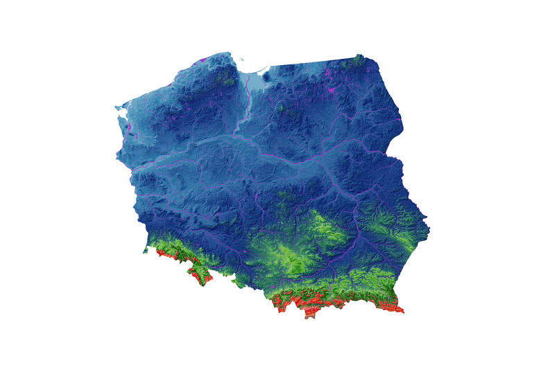 Elevation map of Poland