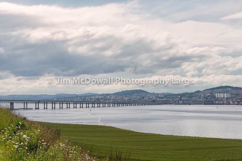 Tay Bridge Accross Green Fields Dundee Scotland