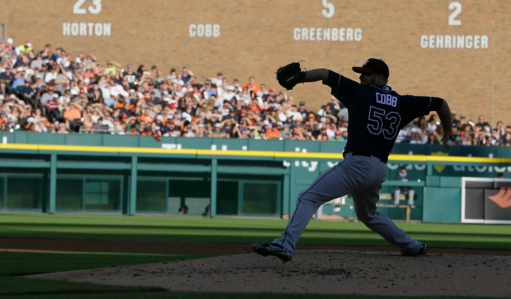 . Tampa Bay Rays starting pitcher Alex Cobb throws during the second inning of a baseball game against the Detroit Tigers in Detroit, Friday, July 4, 2014. (AP Photo/Carlos Osorio)