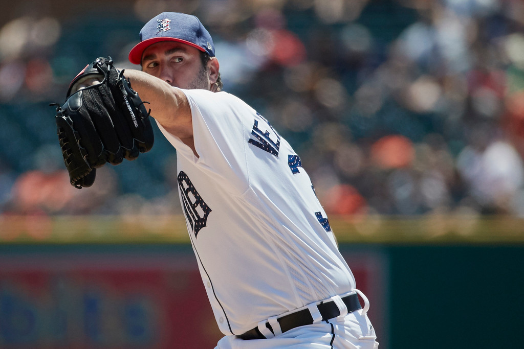 . Detroit Tigers starting pitcher Justin Verlander pitches against the Cleveland Indians in the second inning of a baseball game in Detroit, Sunday, July 2, 2017. (AP Photo/Rick Osentoski)
