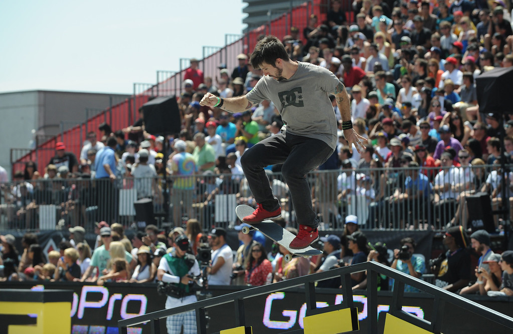 . Chris Cole rides his way to a 2nd place finish in the Street League Skateboarding final at L.A. Live in Los Angeles, CA. 8/3/2013(John McCoy/LA Daily News)
