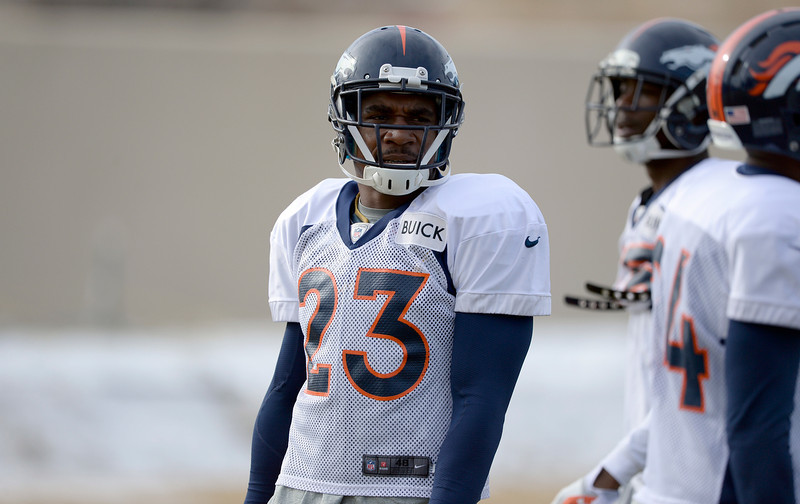 . Denver Broncos cornerback Quentin Jammer (23) looks during practice January 15, 2014 at Dove Valley. The Broncos are preparing for their game against the New England Patriots in the AFC championship game. (Photo by John Leyba/The Denver Post)
