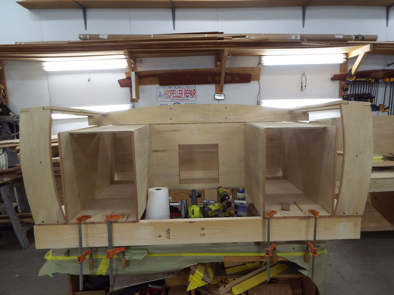 Drawer boxes built along with the storage locker bulkhead installed.