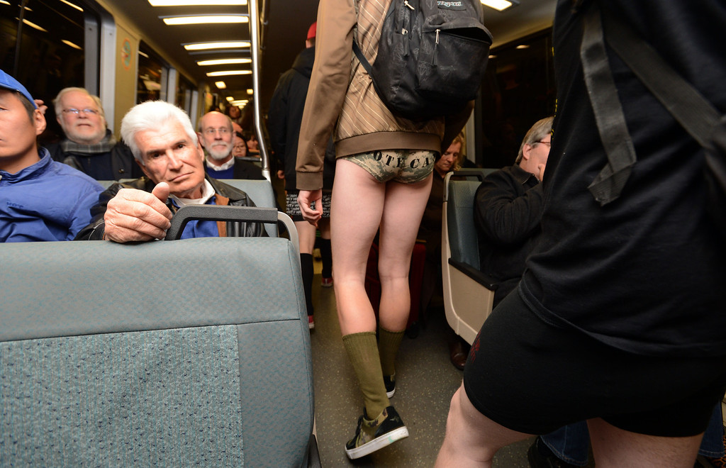 ". Some participated and some did not during the ""12th Annual No Pants Subway Ride\"" on BART as the train heads to the Civic Center station in San Francisco, Calif. on Sunday, Jan. 13, 2013. BART riders joined those in New York, Berlin and Mexico that all participated in the annual event. (Susan Tripp Pollard/Staff)"