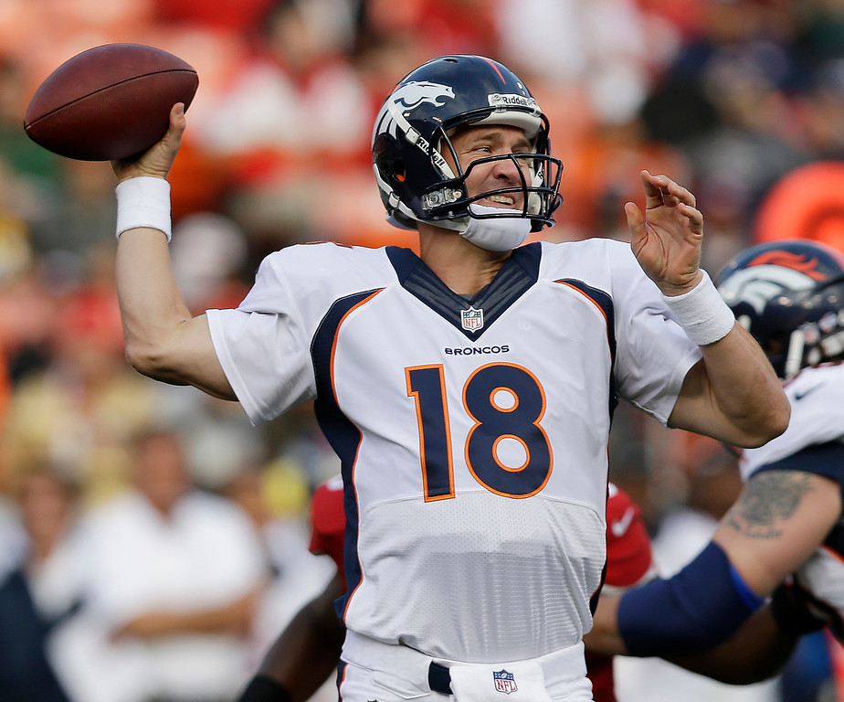 . Denver Broncos quarterback Peyton Manning drops back to throw during the first quarter of an NFL preseason football game against the San Francisco 49ers, Thursday, Aug. 8, 2013, in San Francisco. (AP Photo/Marcio Jose Sanchez)