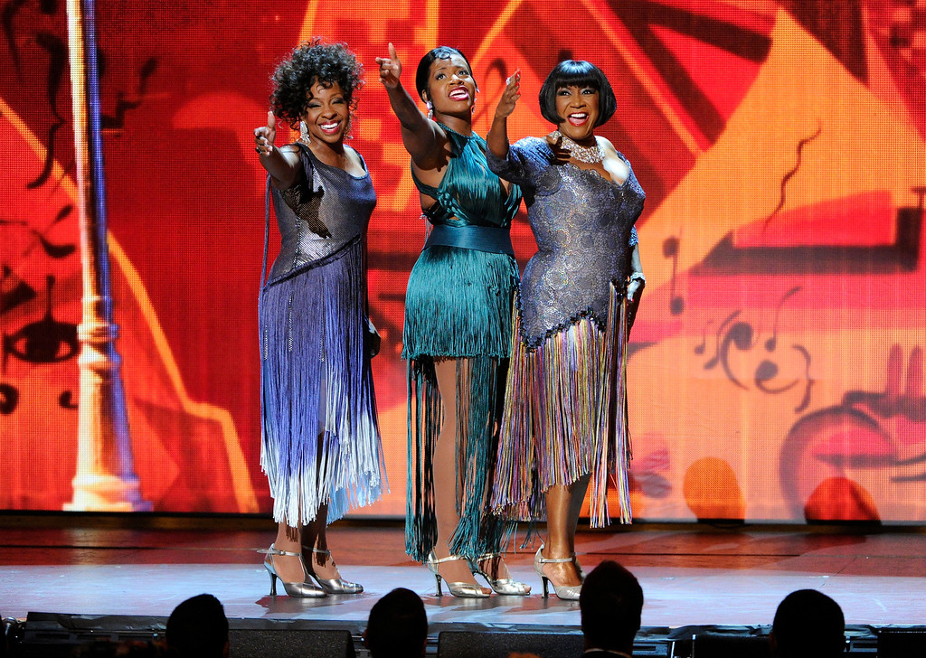 . Gladys Knight, from left, Fantasia Barrino and Patti LaBelle perform at the 68th annual Tony Awards at Radio City Music Hall on Sunday, June 8, 2014, in New York. (Photo by Evan Agostini/Invision/AP)