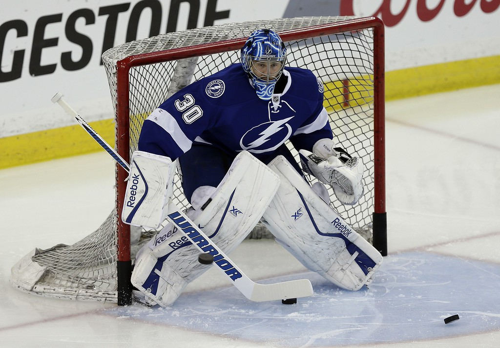 . Tampa Bay Lightning goalie Ben Bishop before Game 7 of a first-round NHL Stanley Cup hockey playoff series against the Detroit Red Wings Wednesday, April 29, 2015, in Tampa, Fla. (AP Photo/Chris O\'Meara)