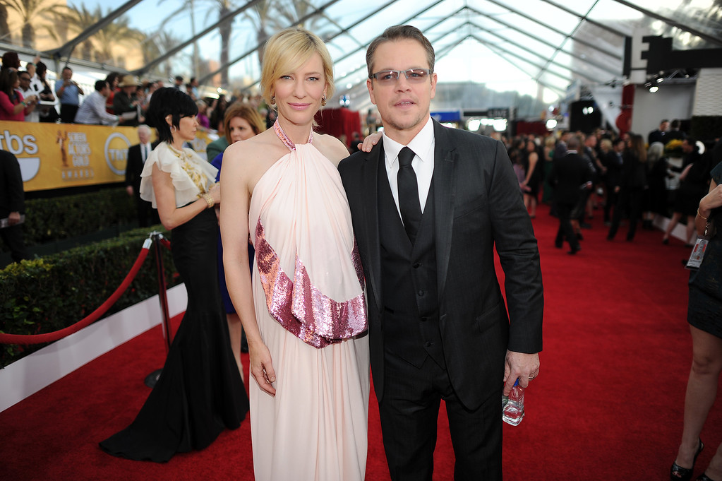 . Cate Blanchett and Matt Damon on the red carpet at the 20th Annual Screen Actors Guild Awards  at the Shrine Auditorium in Los Angeles, California on Saturday January 18, 2014 (Photo by Hans Gutknecht / Los Angeles Daily News)