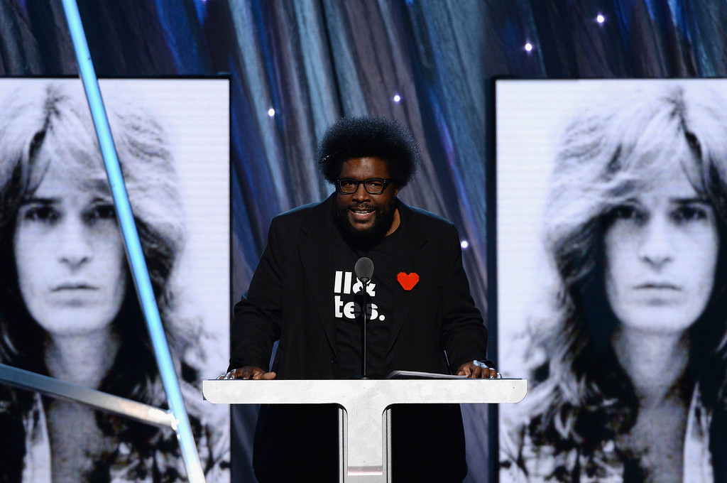 . Musician Questlove speaks onstage at the 29th Annual Rock And Roll Hall Of Fame Induction Ceremony at Barclays Center of Brooklyn on April 10, 2014 in New York City.  (Photo by Larry Busacca/Getty Images)