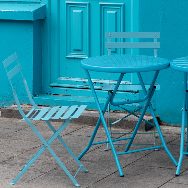 Empty blue chair and tables outside cafe, City of Cork, County Cork, Ireland