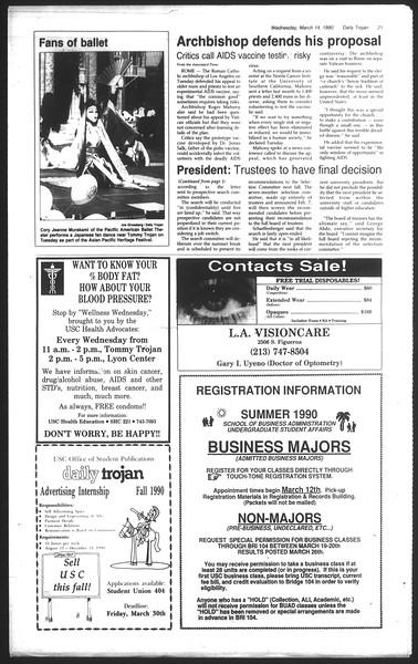 Daily Trojan, Vol. 111, No. 42, March 14, 1990