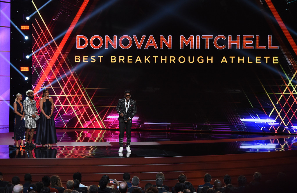 . Utah Jazz\'s Donovan Mitchell accepts the award for best breakthrough athlete at the ESPY Awards at Microsoft Theater on Wednesday, July 18, 2018, in Los Angeles. (Photo by Phil McCarten/Invision/AP)