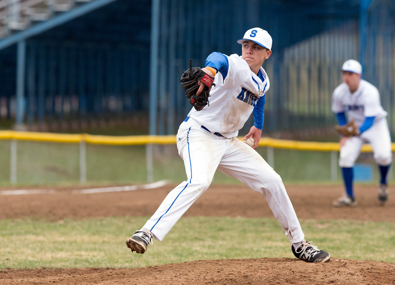 04/09/19  Wesley Bunnell | Staff  Southington defeated Berlin 8-1 on Tuesday night at Southington High School. Jake Neuman (6).
