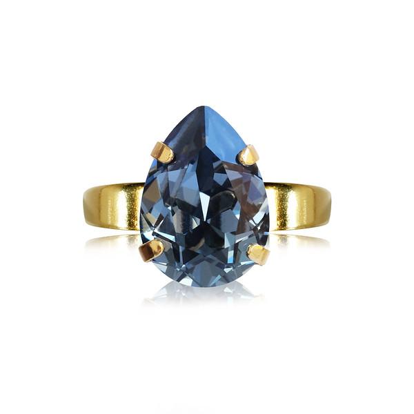 Mini Drop Ring / Denim Blue / Gold