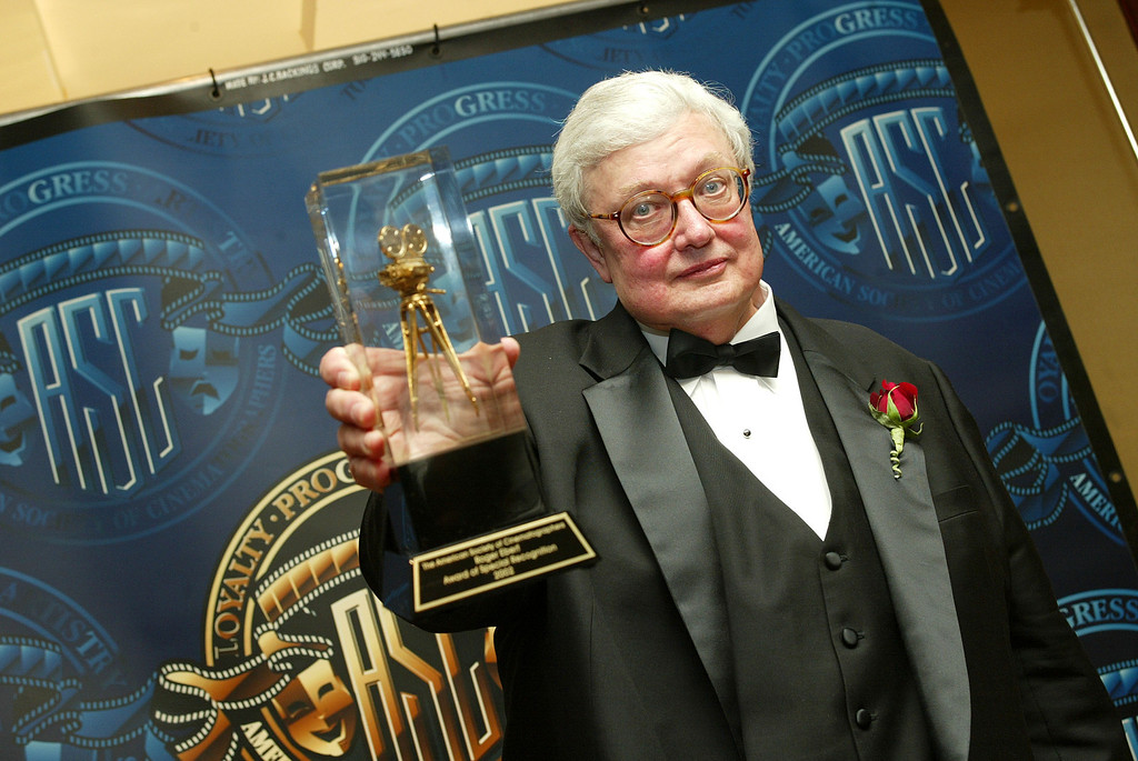 . LOS ANGELES - FEBRUARY 16:  Film Critic Roger Ebert receives a special award of recognition at the American Society of Cinematographers 17th Annual Outstanding Achievement Awards at the Century Plaza Hotel on February 16, 2003 in Los Angeles, California. (Photo by Kevin Winter/Getty Images)