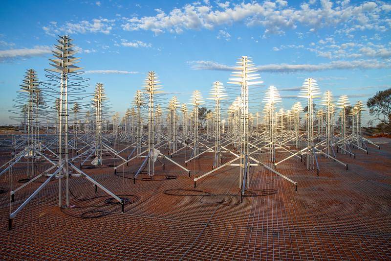 Installing INAF's SKALA 4.1 antennas on the Aperture Array Verification System station. Credit: ICRAR/Curtin