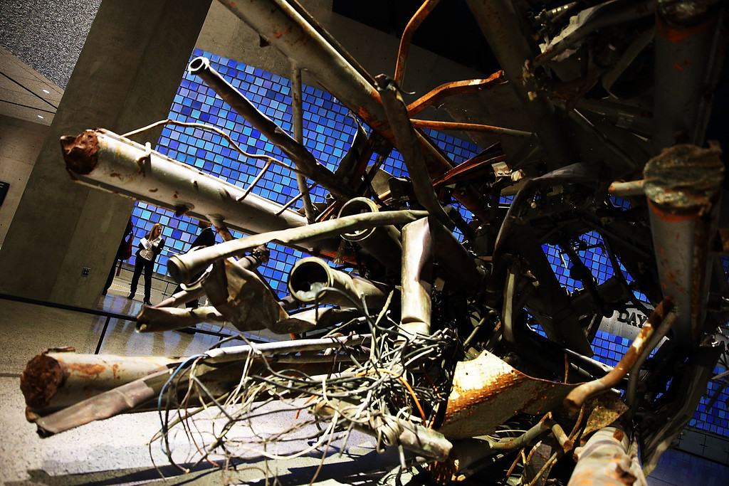 . Artifacts from Ground Zero, including part of a television and radio antenna from the North Tower, is viewed during a preview of the National September 11 Memorial Museum on May 14, 2014 in New York City.  (Photo by Spencer Platt/Getty Images)