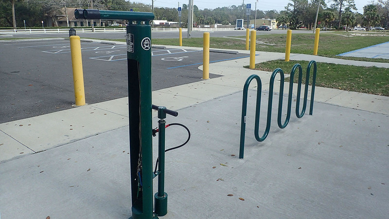 Bicycle repair station and rack