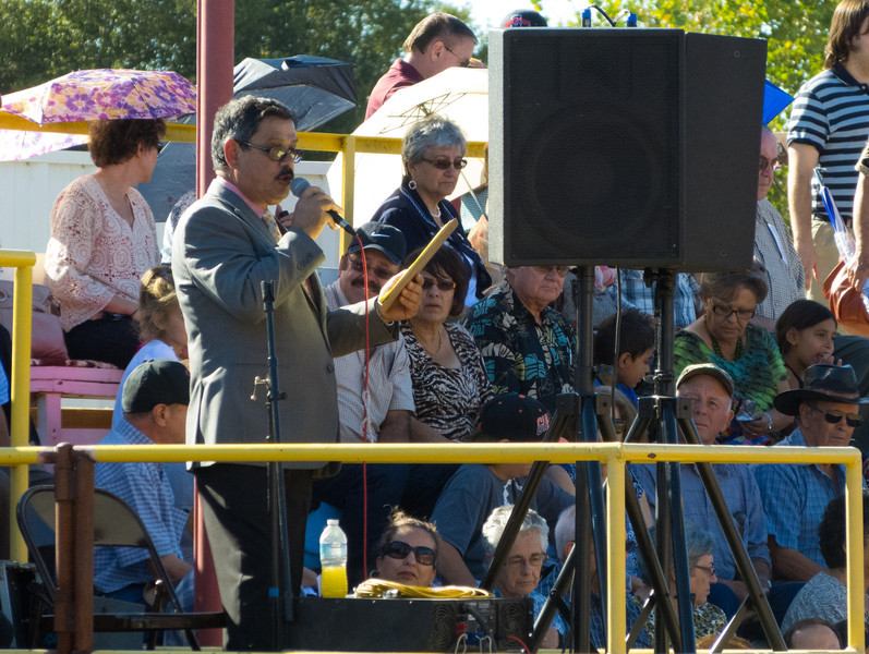 """The bullfight announcer at the annual Portuguese """"Our Lady of Fatima"""" Celebration in Thorton, CA."""