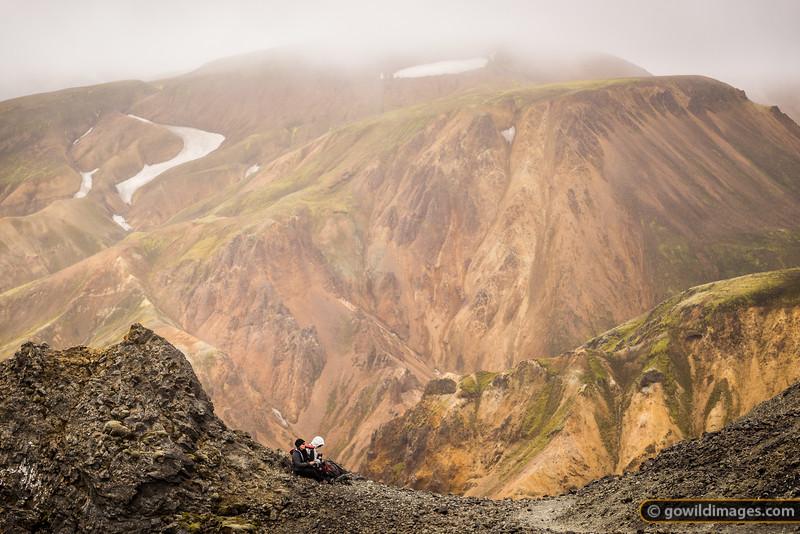Enjoying the view from halfway up Bláhnjúkur peak, Landmannalaugar