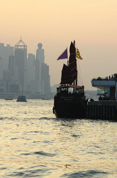 Chinese Junk boat waiting to leave the harbor for an evening cruise