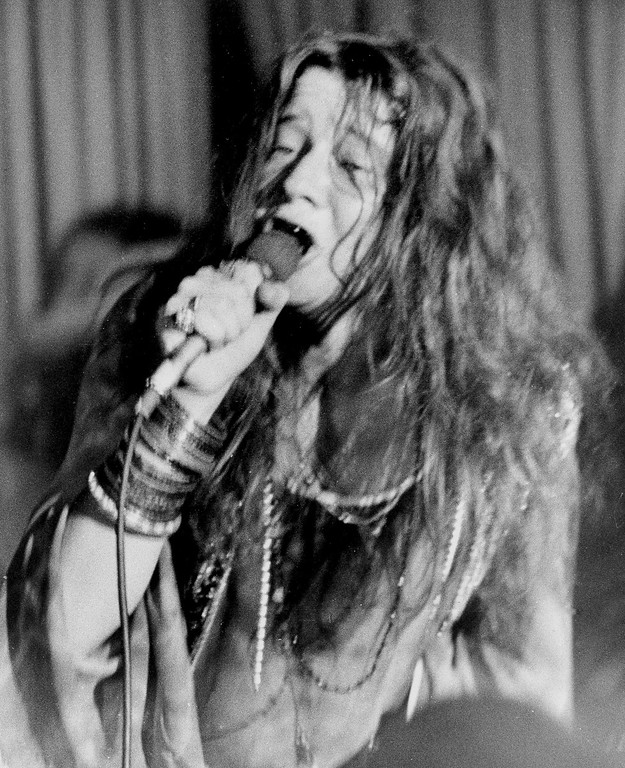 . Rock singer Janis Joplin performs in Tampa, Fla., Nov. 17, 1969, shortly before she was arrested on profanity charges. The singer allegedly used obscenities over the loudspeaker system after police with bullhorns interrupted her performance while controlling the crowd. (AP Photo)